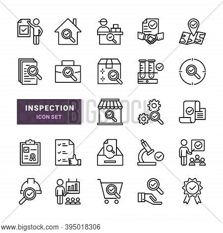 Set Of Inspection Vector Line Icons. Includes Such Icons As Verification, Control, Analysis And Rese