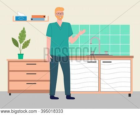 Young Blond Man Doctor Or Veterinarian Wears Glasses, Uses Hospital Coat In Vet Medical Office. Tabl