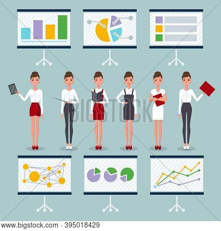 Business Woman In Different Poses And Flipchart Set. Pretty Young Slim Woman Character In Business C