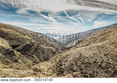 Beautiful Nature Scene In Autumn Mountains Of Sierra Nevada, Spain. Sunny Autumn Hiking Day. View Of