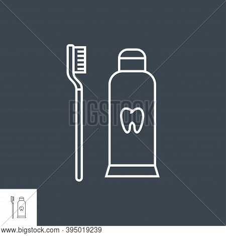 Toothpaste And Toothbrush Line Icon. Toothpaste And Toothbrush Line Related Vector Line Icon. Isolat