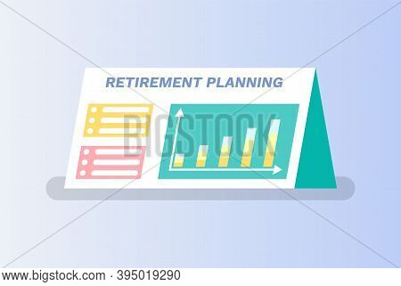 Retirement Planning Vector, Board Containing Information About Pension And Ways Of Saving Money, Dia