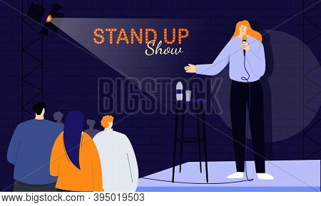 Young Female Stand-up Comedian Greets Her Audience At The Beginning Of The Show, Speaking Directly T
