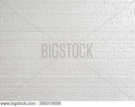 White Styrofoam Texture Background. Top View. Horizontal Photo