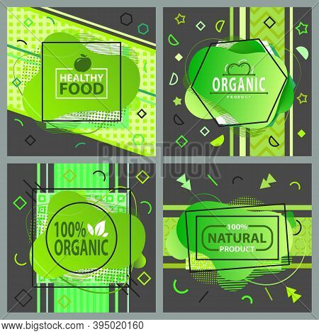 Healthy Food, Natural Organic Product Green Sign And Lettering Logo Set Ecological Concept. Healthy