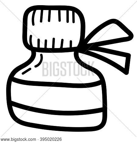 Jar With Iodine Or Brilliant Green To Treat Wounds, Coloring Book, Isolated Object, Vector Medical D