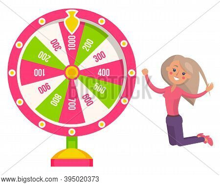 Game Fortune Wheel. Girl Playing Risk Game With Fortune Wheel And Lottery. Casino And Gambling. Illu