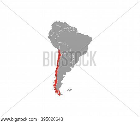 Chile On South America Map Vector. Vector Illustration.