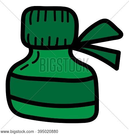 Green Jar With Iodine Or Brilliant Green To Treat Wounds, Isolated Object, Vector Medical Doodles