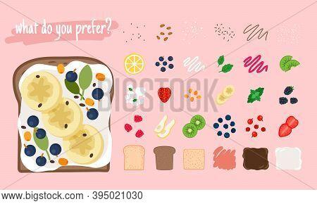 Sandwich Ingredients. Cartoon Slice Food Of Lemon And Kiwi, Fresh Mint And Bananas, Strawberries And