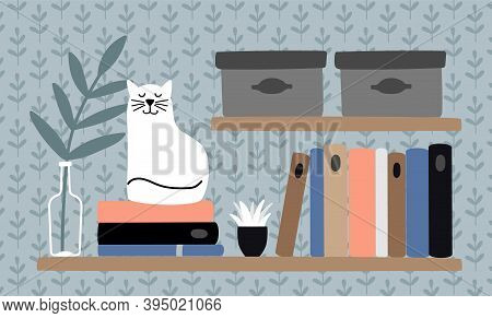 Cat On Book Shelf. Clever Animal, Pet And Books. Reading Cozy Concept, Home Workplace Vector Illustr