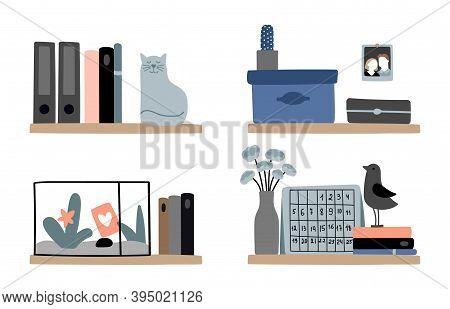 Diverse Bookshelves. Home Bookshelf Decorations, Cozy Scandinavian Interior Design Elements. Books,