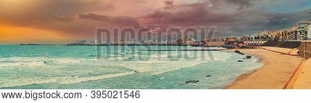 Panoramic Wide Angle View Of Cadiz Townscape During Sunset, Picturesque Landscape Atlantic Ocean Sur