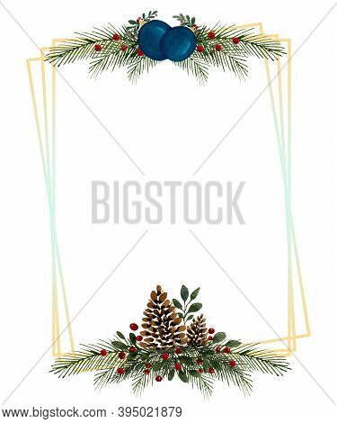 Christmas Card Design, Christmas Ornaments Festive Frame Design For Christmas And Winter Holidays, F