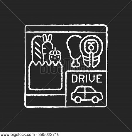 Drive Through Grocery Shopping Chalk White Icon On Black Background. Convenience Store. Supermarket
