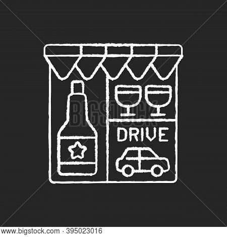 Drive Through Liquor Store Chalk White Icon On Black Background. Alcohol And Spirits. Alcoholic Drin