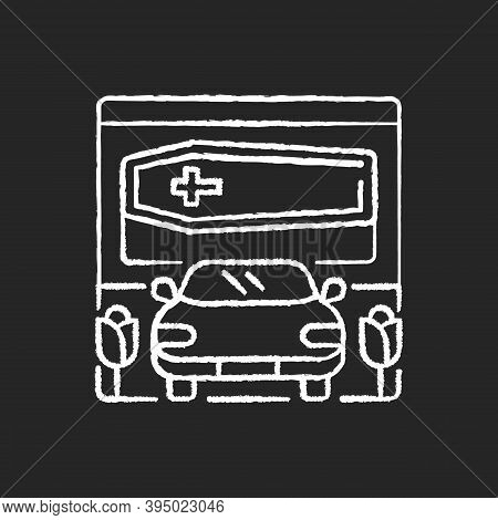 Drive Through Funeral Home Chalk White Icon On Black Background. Bury Coffin. Ritual Transportation.