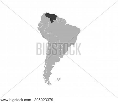 Venezuela On South America Map Vector. Vector Illustration.
