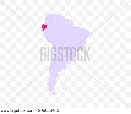 Ecuador On South America Map Vector. Vector Illustration.