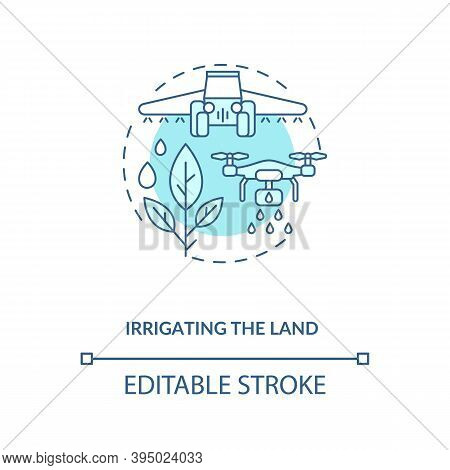 Irrigating The Land Concept Icon. Agriculture Machines Tasks. Applying Controlled Amounts Of Water T