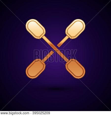 Gold Cotton Swab For Ears Icon Isolated On Black Background. Vector