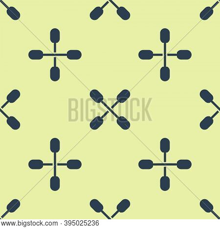 Blue Cotton Swab For Ears Icon Isolated Seamless Pattern On Yellow Background. Vector