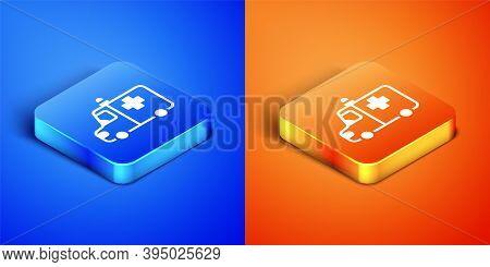 Isometric Ambulance And Emergency Car Icon Isolated On Blue And Orange Background. Ambulance Vehicle