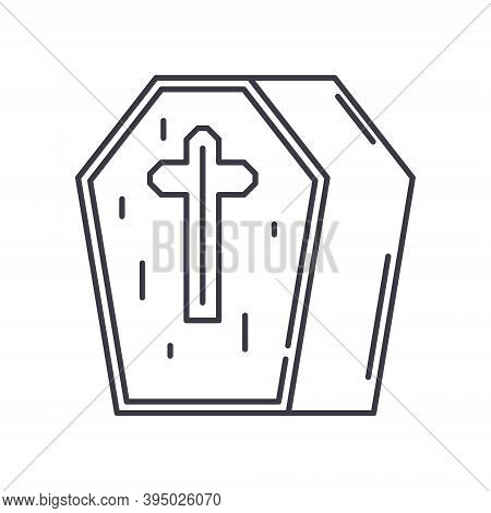 Casket Icon, Linear Isolated Illustration, Thin Line Vector, Web Design Sign, Outline Concept Symbol