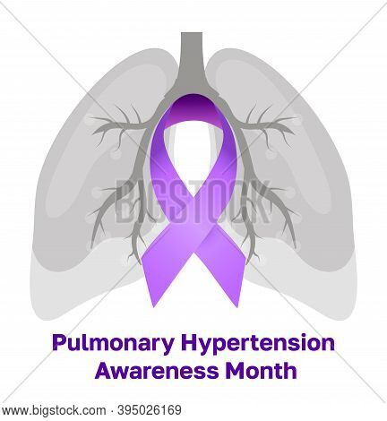 Pulmonary Hypertension Awareness Month Is Celebrated In November. Purple Ribbon And Big Lungs Are Sh
