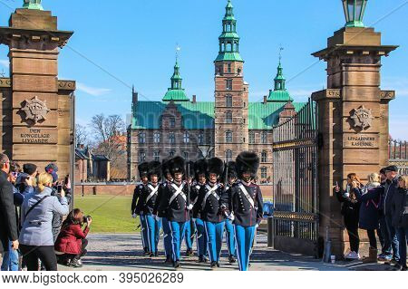 Copenhagen, Denmark-march 2018.people Watching The Danish Royal Guard March From Rosenborg Castle To
