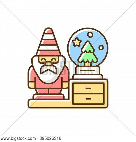 Decorative Figurines Rgb Color Icon. Living Room Statues. Indoor Sculptures. Gnome Statue. Christmas