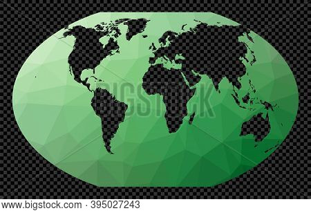 Abstract Digital Map Of World. Winkel 3 Projection. Polygonal Map Of The World On Transparent Backgr