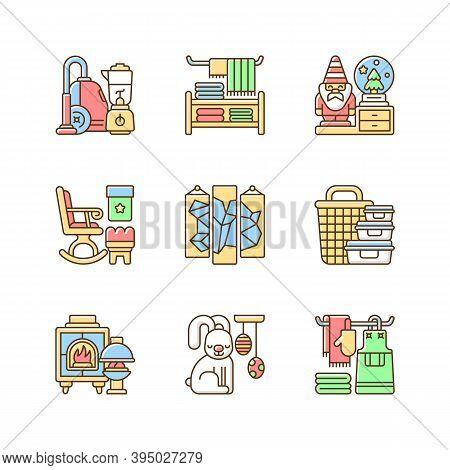 Home Decor Rgb Color Icons Set. House Appliances. Decorative Figurines. Household Textile. Rocking C