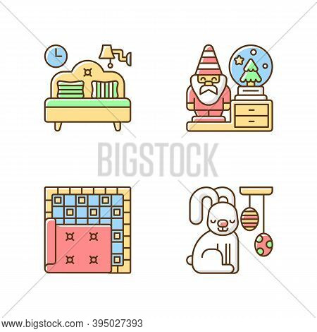Home Accessories Rgb Color Icons Set. Bedroom Furniture. Decorative Figurines. Carpets And Rugs. Eas