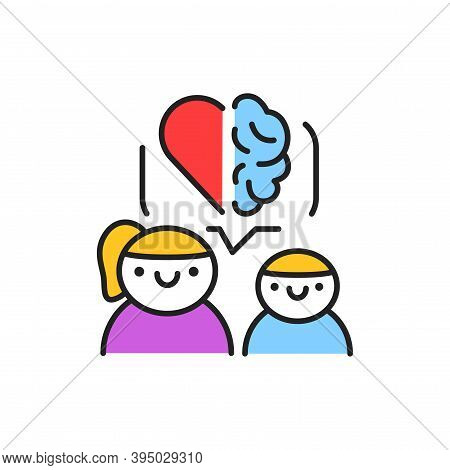 Development Of Emotional Intelligence In Children Color Line Icon. Pictogram For Web Page, Mobile Ap