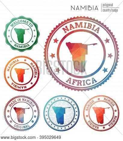 Namibia Badge. Colorful Polygonal Country Symbol. Multicolored Geometric Namibia Logos Set. Vector I