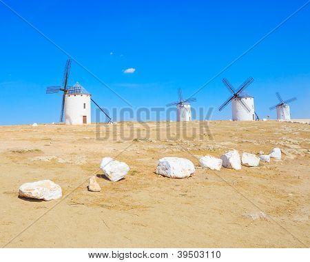 Four Windmills. Campo De Criptana  Castile La Mancha, Spain.