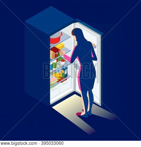 Problem Of Excess Weight And Health. Woman By The Open Refrigerator At Night. Isometric Young Woman