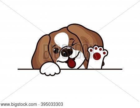 Portrait Of A Sad Puppy Beagle. Dog Head Breed Beagle Sketch. Vector Illustration Eps10