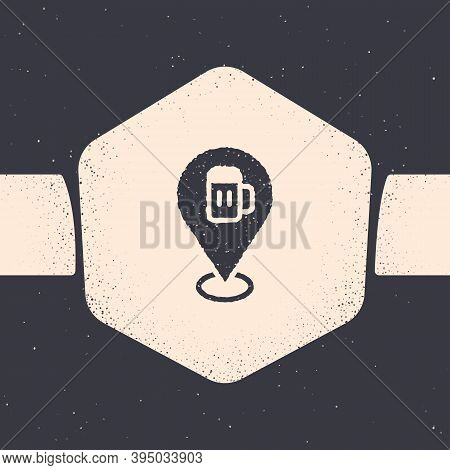 Grunge Alcohol Or Beer Bar Location Icon Isolated On Grey Background. Symbol Of Drinking, Pub, Club,