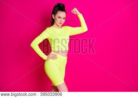 Photo Of Shiny Strong Lady Wear Sport Outfit Showing Muscles Raising Fist Hand Arm Waist Isolated Pi