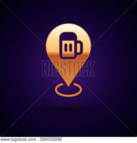 Gold Alcohol Or Beer Bar Location Icon Isolated On Black Background. Symbol Of Drinking, Pub, Club,