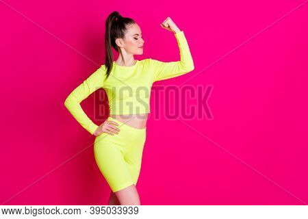 Profile Photo Of Sweet Strong Young Woman Dressed Yellow Sportwear Hand Arm Fist Showing Muscles Iso