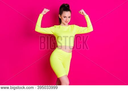 Photo Portrait Of Confident Strong Girl Wear Sport Outfit Showing Muscles Raising Fists Isolated Pin