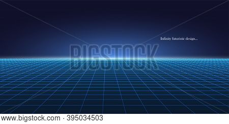 Vector Abstract Futuristic Glowing Background With Vision Perspective. Retro Design - Fashion 80-90s