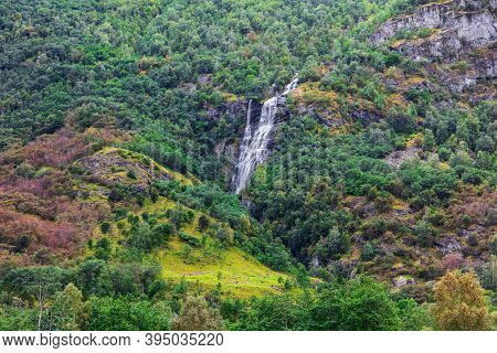 view of the beautiful waterfall in Norway