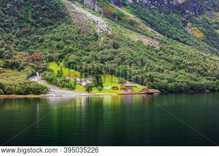 small village by the fjord, Norway