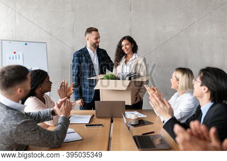 Businessman Ceo Introducing New Coworker To Diverse Employees Team During Corporate Meeting In Moder