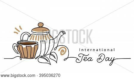 Tea Day Vector Background With Teacup And Kettle. One Line Drawing Art Illustration, Border, Banner