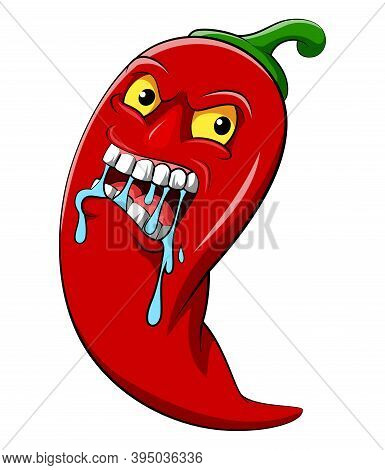 The Red Chili With Hot Face For The Spicy Delicious Food